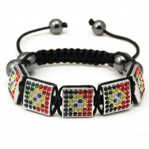 Colorful Crystal Square & Hematite Beads Shamballa Bracelet