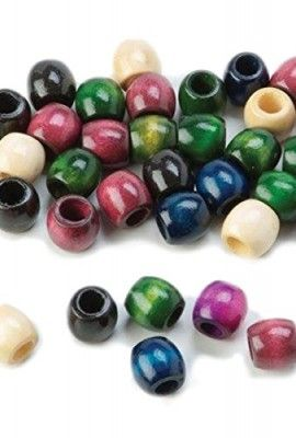 Wood-Pony-Beads-11x12mm-Fashion-Color-Mix-110pc-Pkg-0