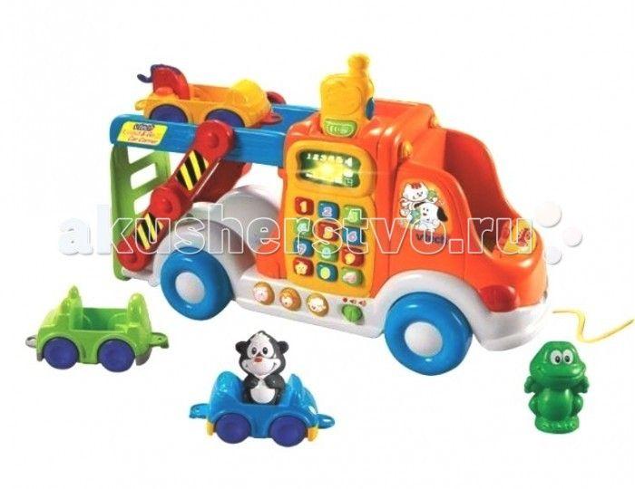 Vtech Веселый автовоз 80-049726  Развивающая игрушка Vtech Веселый автовоз - это настоящий игровой центр для детей от 2-х лет. В набор входят 6 интерактивных предметов и рация.  В комплекте: Большая машина каталка-автовоз; 3 фигурки говорящих животных; 3 машинки, которые можно соединять между собой (джип, легковая машинка и тягач); Рация (имеет 2 режима громкости и световые эффекты).  Развивающая игрушка имеет 3 режима обучения: животные, формы и цифры. Кроме этого, ребенок познакомится с…