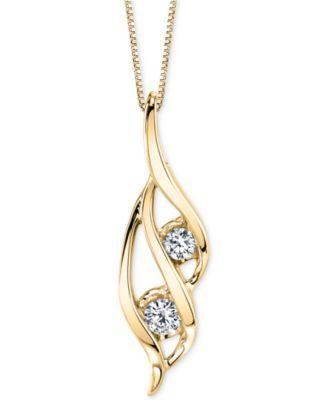 Sirena Two-Stone Diamond Pendant Necklace (1/3 ct….