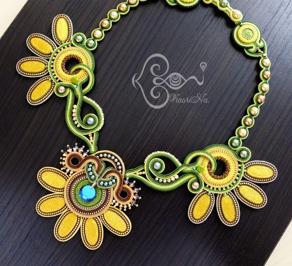 ソウタシエ・ネックレス Soutache Necklace by KaoriNa. - Sunflower