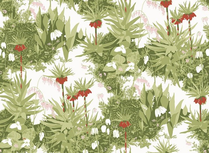 Scandinavian Designers (2730) - Boråstapeter Wallpapers - A stunning all over design of rich foliage and hanging flowers. Shown here in Red, pink and green on a white background - more colours are available. Please request a sample for true colour match. Paste-the-wall product.