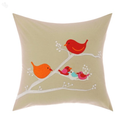 Bird Patterned Embroidered Cushion Cover 40 x 40 cm