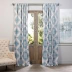 Exclusive Fabrics & Furnishings Henna Teal Blackout Curtain - 50 in. W x 120 in. L (Pair), Blue