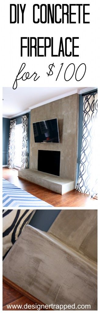 WOW! DIY Concrete Fireplace for less than $100. A full tutorial by Designer Trapped in a Lawyer's Body.