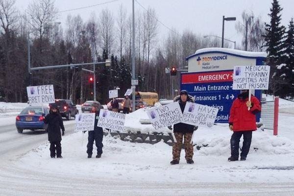 Protesters demand Bret Bohn's release outside Providence Alaska Medical Center.    Extremely heartbreaking and terrifying. Free Bret Bohn!!