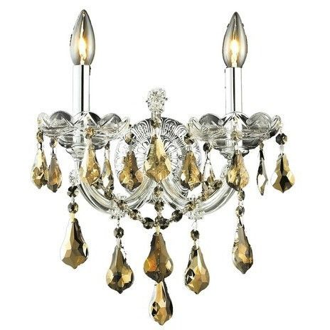2801 Maria Theresa Collection Wall Sconce W12in H12in E8.5in Lt:2 Chrome Finish (Royal Cut Golden Teak)