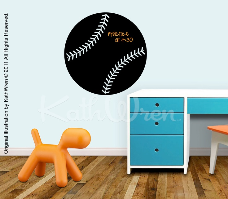 Baseball chalkboard decal peel and stick via for Baseball scoreboard wall mural