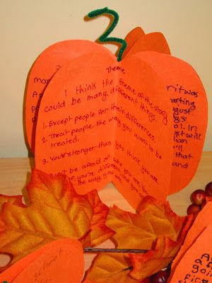 Story Elements in the Pumpkin Patch. This teacher site gives ideas for using these wonderful pumpkins for reading response activities.  You can also find the link for instructions on making these cute pumpkins.