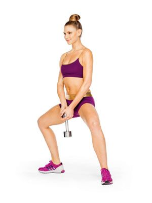 Get hot mini skirt legs: Do a weighted plie squat. Stand w feet wider than hip-width apart, toes out; hold one end of a 15-pound dumbbell at hips. Squat, then stand, rising onto balls of feet, for one rep. Do three sets of 15 reps on alternate days. #SelfMagazine