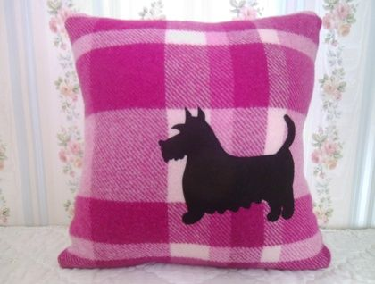 Up-cycled/Recycled cushion with appliqued Black Scottie Dog $39.50