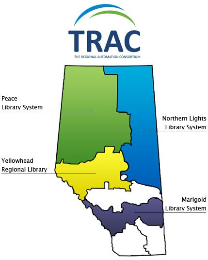 Marigold Library System, Northern Lights Library System, Peace Library System and Yellowhead Regional Library share databases and automated service named TRAC – The Regional Automation Consortium. The shared database, interlibrary loan and circulation system are used by the system member libraries and headquarters.