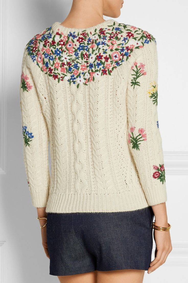 Valentino|Embroidered wool and alpaca-blend sweater|NET-A-PORTER.COM