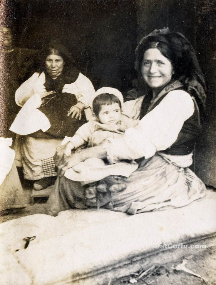 Corfu old photos-Granny, mother and child
