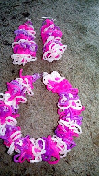 My rainbow loom shagtastic bracelet and earrings