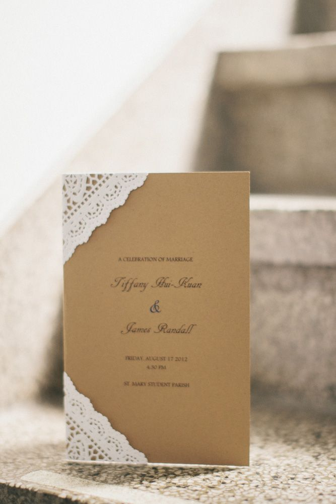 address wedding invitation unmarried couple%0A Casual Brown Wedding Invitation With Lace Edges