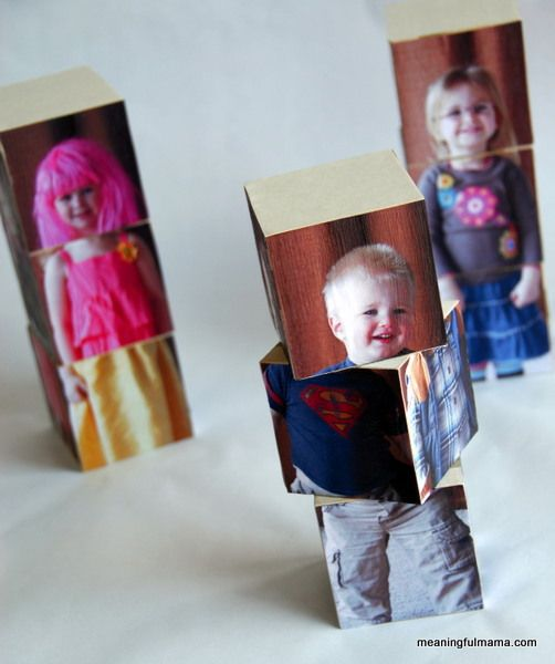Make Your Kids into Interchangeable Blocks - You need some wooden blocks, mod podge and pictures of your kids. So cute!