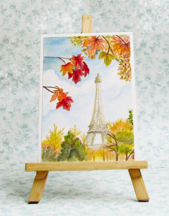 Cartolina dipinta a mano ad acquerello #cards #handmadecard #craftroad #pariscard #giftcard #greetingscard
