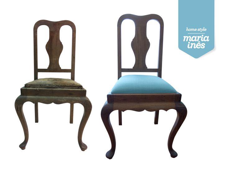 Era uma cadeira Queen Ann sem graça, muito estragada, suja e desconfortável. Agora, é uma cadeira Queen Ann que até parece outra! Restauro para Cliente.