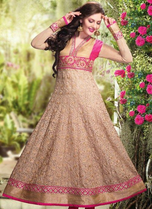 Divine Deep Beige & Pink Net #Salwar Kameez #salwarkameez #pakistanisalwarkameez #womenapparel #ethnicwear