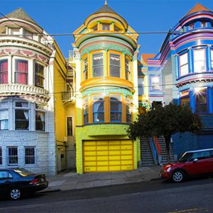 San Francisco's Haight/Ashbury area,and houses.