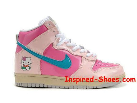 Hello Kitty Nikes Dunk High Shoes For Girls : Cool High Tops Nikes Dunks  Adidas Converse