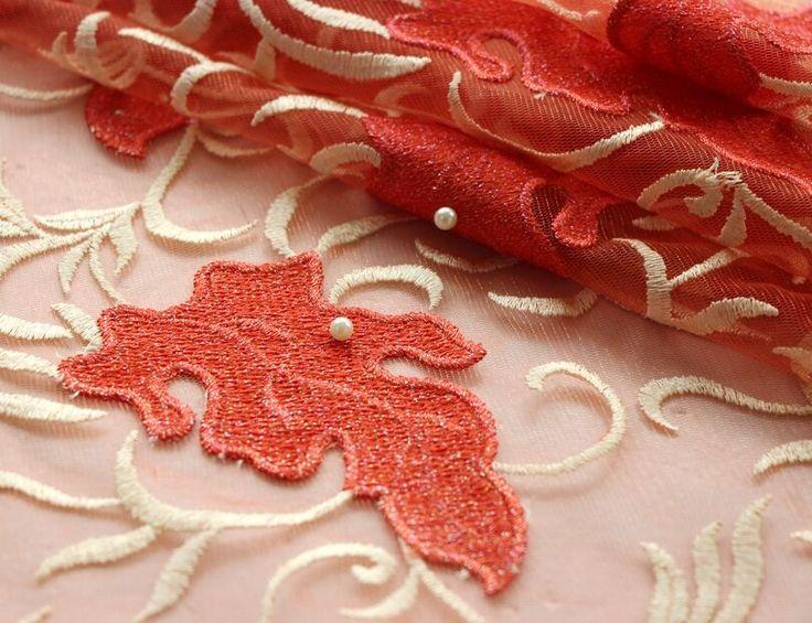 Atacado laço francês laço nupcial 2016 coral vermelho sarees fornecedores china tulle lace bordado tecido líquido para o vestido de noite de malha em Rendas de Home & Garden no AliExpress.com | Alibaba Group