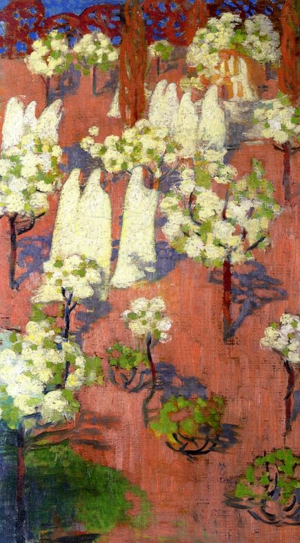 Maurice Denis, Virginal Spring (Flowering Apple Trees), 1894. Beautiful and ethereal. Love the soft whites in this painting.