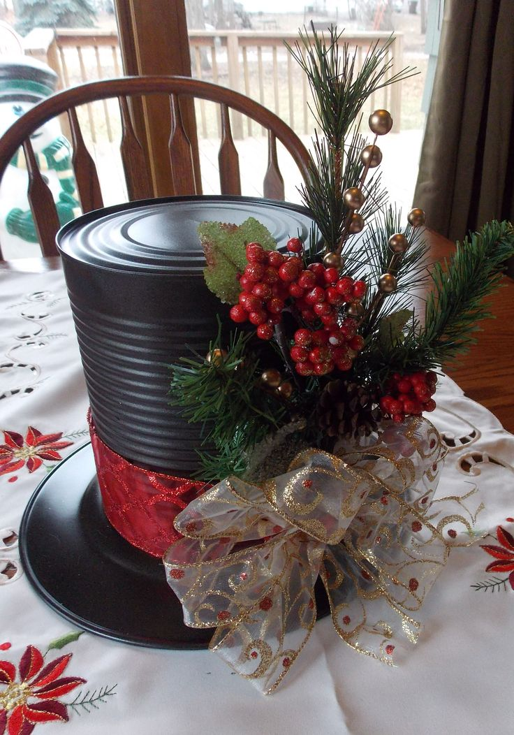 Red and Gold Snowman hat centerpiece