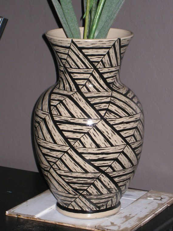 Tan Vase with Hand Painted Black Triangle Tessellation Design by Noelani's, $30.00