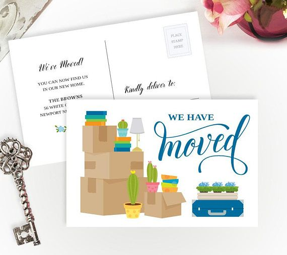 Personalized new home card Funny announcement postcard We are moving postcards PRINTED