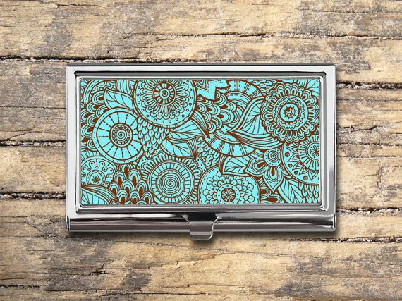 Zentangle Flowers Business Card Case - Floral Pattern - Hand Drawn - Card Holder