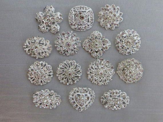 14 Crystal Rhinestone Brooches For Brooch Bouquet by ACRAFTYKING