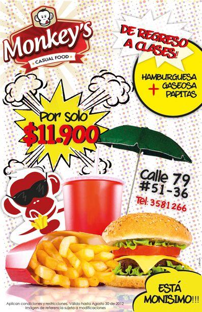 Volante de Promoción - Monkey's Casual Food - Agosto de 2012  - Diagramado por Lemon Agencia de Medios y Publicidad. www.agencialemon.com en Barranquilla - Atlántico, Colombia