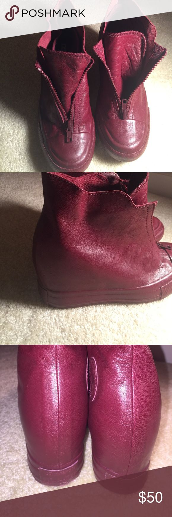 Wedged Leather Converse Burgundy leather wedged high top converse with zip up front Converse Shoes Athletic Shoes