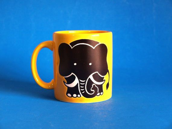 Reserved for Amanda***Waechtersbach West German Elephant Mug - Vintage Retro Kitsch Canary Yellow Coffee Cup - Made in West Germany
