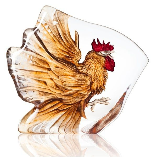 Rooster Painted Crystal Sculpture | 34179 | Mats Jonasson Maleras