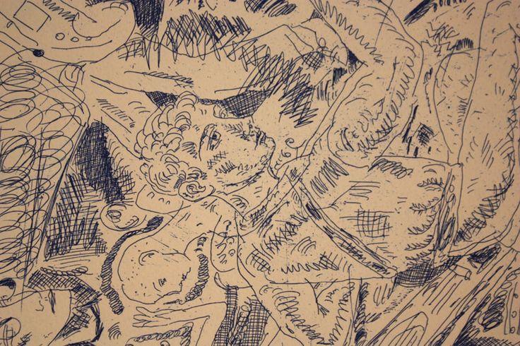 Adrian Wiszniewski (Scottish, 1958-) Sculpture Study etching (1987)