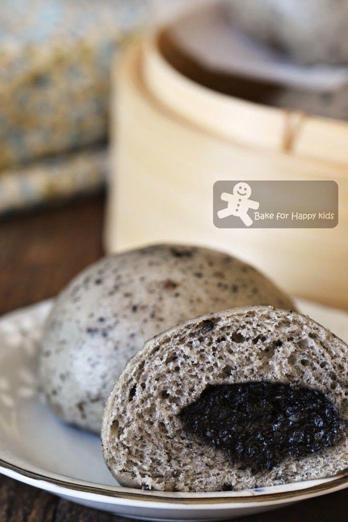 best black sesame steamed buns homemade paste