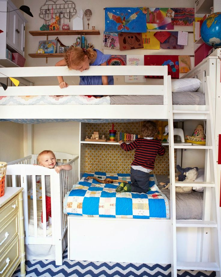Well-used space in a bunk bed, in a tiny kids room.