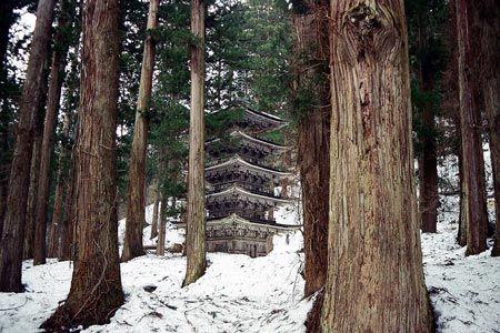 木の風合いそのままの姿は、その構造の豪華さから嫌味を消し去っている。自然に馴染む文化の造形。1999/3 羽黒山 五重塔(山形県)© 2010 風旅記(M.M.) 風旅記以外への転載はできません...