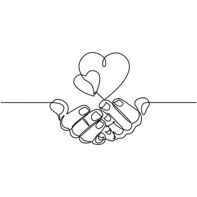 خط واحد مستمر رسم اليدين تمسك القلب على خلفية بيضاء خط رفيع من اليد مع صورة قلب ناقلات يد كف قلب Png والمتجهات للتحميل مجانا Linejnye Chertezhi Risunki Serdca Illyustracii