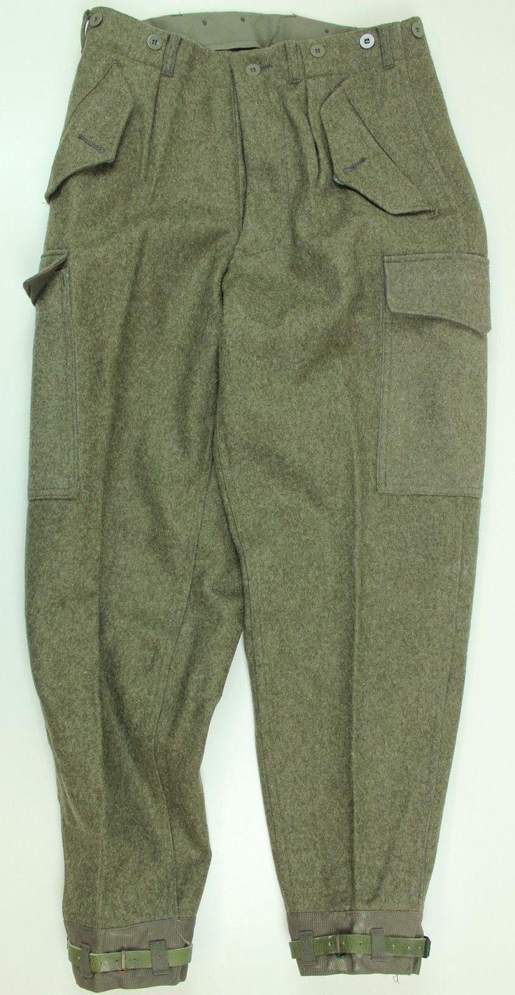 "(2) WW2 STYLE SWEDISH ARMY M39 COMBAT WOOL TROUSERS 32"" WAIST DATED 1970 c48 | eBay"