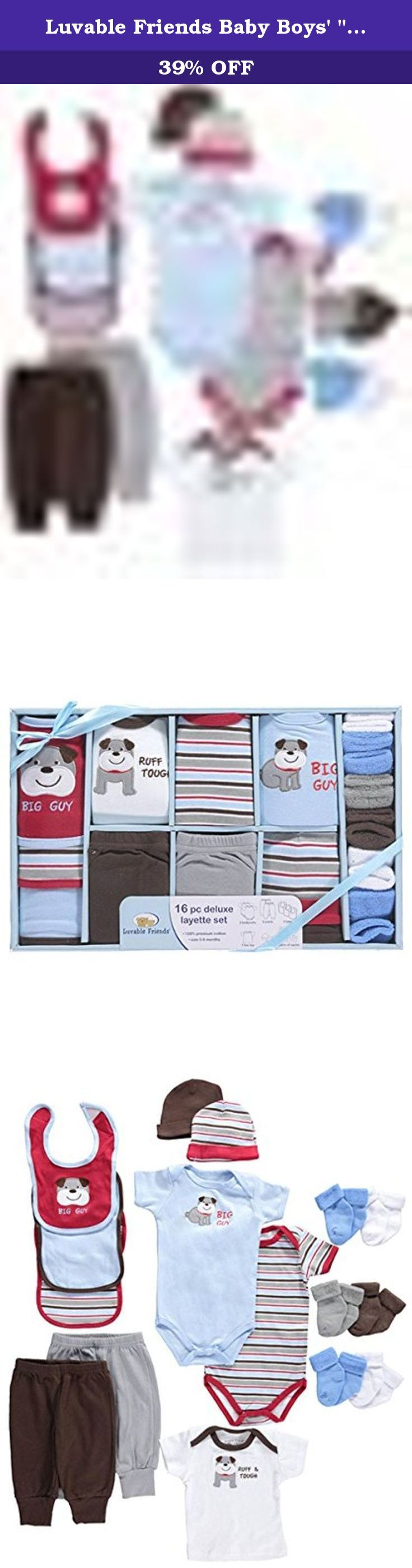 """Luvable Friends Baby Boys' """"Big Dog"""" 16-Piece Layette Set - blue, 0 - 6 months. Ensure your new arrival has outfits galore with this comprehensive 16-piece set from Luvable Friends. All items are made of the very softest cotton. A variety of patterns and adornments offers great mix-n-match options. The view-thru gift packaging is perfect for showers. Includes: 2 Bodysuits (100% Cotton) 2 Pants (100% Cotton) 3 Bibs (100% Cotton) 1 T-Shirt (100% Cotton) 2 Caps (100% Cotton) 6 Socks (100%..."""