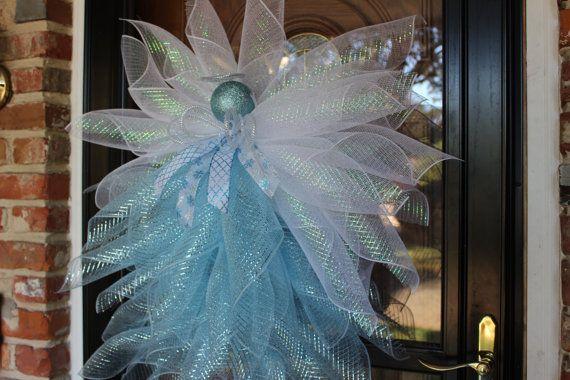 Deco Mesh Christmas Wreath, Angel Mesh Wreath, Angel Wreath