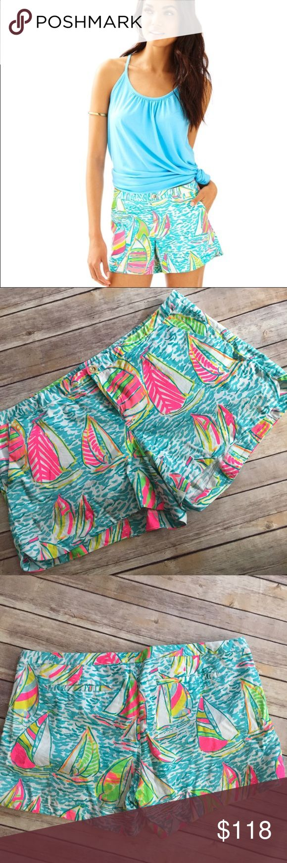 """Size 14 You Gotta Regatta Addie 4"""" Short Size 14 You Gotta Regatta Addie 4"""" Short by Lilly Pulitzer. EUC. Out of stock. Super cute shorts!!! Essential preppy girl style. Exact measurements pictured. No trades price firm Lilly Pulitzer Shorts"""