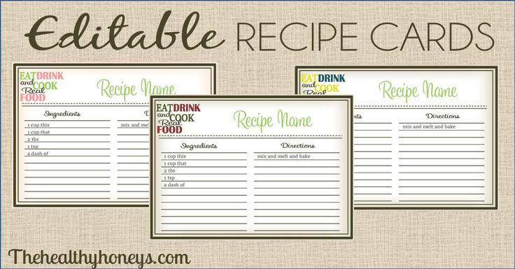 Real food recipe cards diy editable catchy phrases the o39jays and comment for Full page recipe template editable
