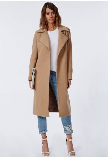 Style your premium camel water fall coat over tailored trousers, skyscraper courts and don some slick shades to step out like a star. Missguided presents our most lust worthy design yet, the waterfall collar coat. With oversized lapels for ...