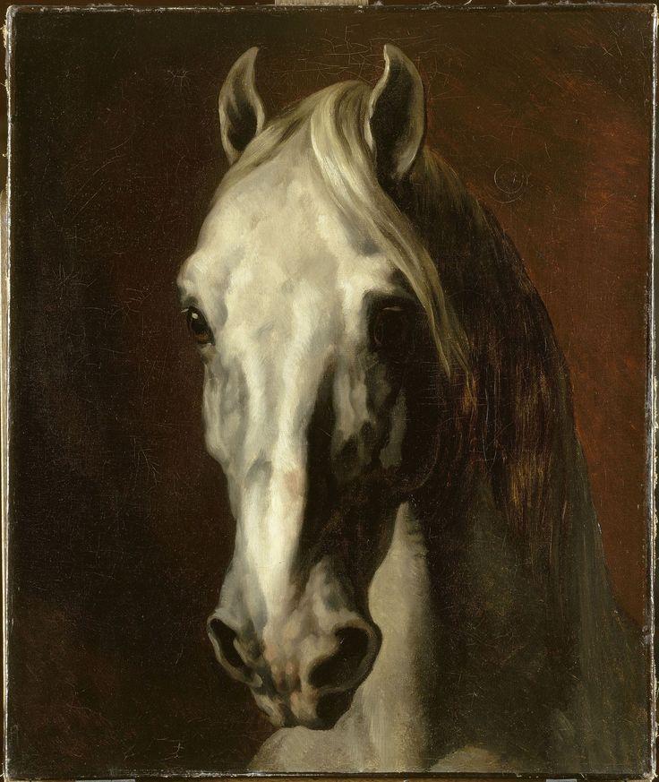 """Théodore Géricault (1791-1824) : """"Tête de cheval blanc"""", avant 1816-1817. Huile sur toile, 65 x 54 cm. Paris, musée du Louvre, département des Peintures."""