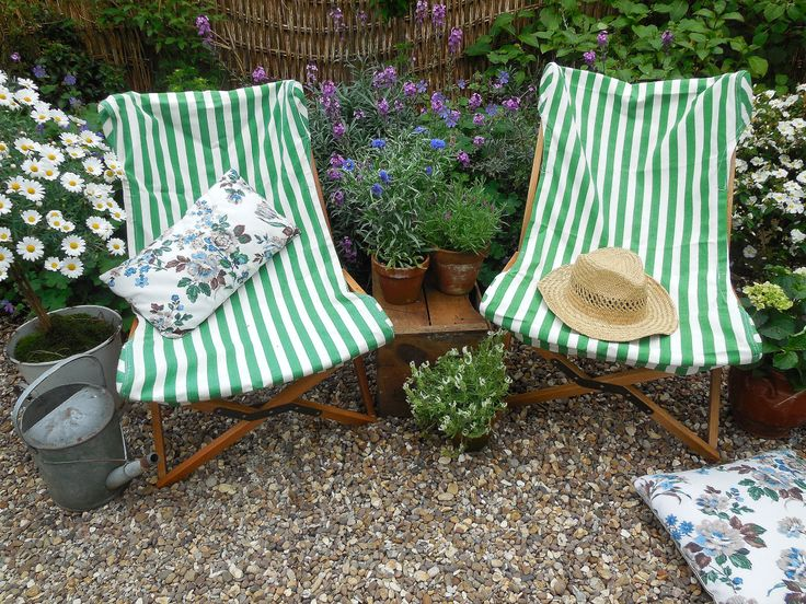 Vintage style wood and canvas folding garden chairs coming soon at Lavender House Vintage for UK delivery #vintage#garden#summer